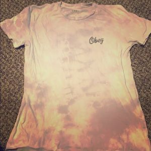 Purple and White Tie Dye Obey T-shirt.